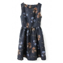 Floral Print Round Neck Sleeveless Gathered Waist Cutout Back Dress