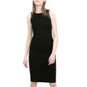 Black Sleeveless PU Trim Skinny Tanks Dress