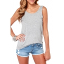 Gray Plain Elastic Deep V-Back Tank