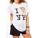 White Short Sleeve Pizza Letter Print T-Shirt