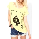 Yellow Playing cards Print Short Sleeve T-Shirt