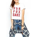 White Short Sleeve Fur Fox Sake Print T-Shirt