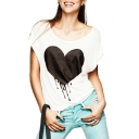 White Short Sleeve Melting Heart Print T-Shirt