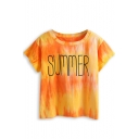 Yellow Ombre Tie-Dye Letter Short Sleeve Tee