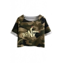 Dark Green Camouflage Finger Print Crop T-Shirt