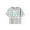 Gray Short Sleeve Omelette Breakfast Crop T-Shirt