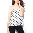 White Background Black Heart Print Mesh Panel Chiffon T-Shirt
