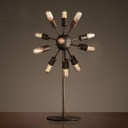 Industrial Sputnik Table Lamp in Black 12 Light Multi Light Desk Lamp
