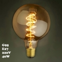 95*140mm Spiral G95 220V  E27 40W Edison Bulb