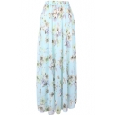 Blue Background Bohemia Flower Print Maxi Chiffon Skirt