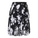 Black Background White Flower Elastic Waist Pleated Chiffon Skirt