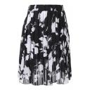 Black Background White Flower Elastic Waist Pleated Chiffon Skirt