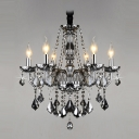 Gracefully Smoky Gray Crystal Strands and Droplets 6-Light Traditional Chandelier