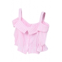 Pink Off-the-Shoulder Stripe Button Fly Ruffle Cuff Crop Blouse