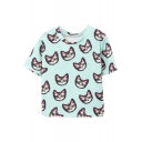 Mint Green Cute Kitty Short Sleeve T-Shirt