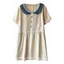 Beige Short Sleeve Lapel Button Embellish Ruched Babydoll Dress