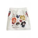 White Cartoon Singing Kitten Embroidered Short Skirt