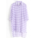 Purple 1/2 Sleeve Plaid Step Hem Chiffon Midi Shirt