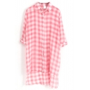 Watermelon 1/2 Sleeve Plaid Step Hem Midi Chiffon Shirt