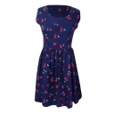 Dark Blue Background All Over Cherry A-line Tanks Dress