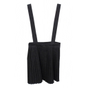 Black Pleated Artistic Suspender Skirt