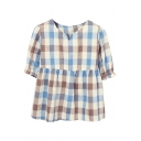 Khaki&Blue Plaid Short Sleeve Babydoll Blouse