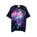 Purple Galaxy Triangle Skull Print T-Shirt