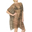 Pound Print Sheer Cover-Up with Double Slit