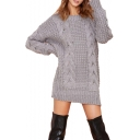 Vintage Plain Loose Chunky Cable Knitted Dress with Long Sleeve
