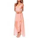 Cold Shoulder V-Neck Style Double Layer Chiffon Asymmetric Hem Dress