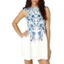 Blue Blossom Print Boat Neck Sleeveless Mini White Dress