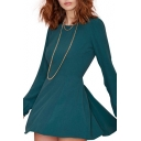 Concise Dark Green Puff Sleeve Back Cutout A-line Babydoll Dress