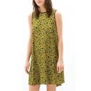 Sleeveless Laid Back Yellow Background Dot Pattern Print Dress