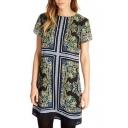 Vintage Tribal Print Round Neck Short Sleeve Shift Dress