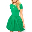 Plain Short Sleeve Fitted Pleated Dress