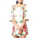Plants Print Half Sleeve Scoop A-Line Dress
