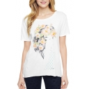 Long Hair Girl with Floral Print Short Sleeve Tee