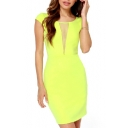 Yellow Mesh Insert Sheer Back Short Sleeve Dress