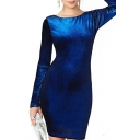 Blue Pleuche Long Sleeve Open Back Dress