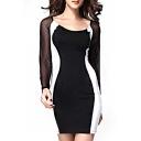 Mesh Inserted Long Sleeve Scoop Mini Dress