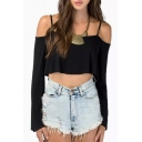 Black Long Sleeve Crop Camis