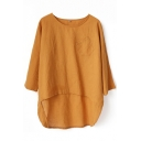 Plain Loose Round Neck 3/4 Sleeve Top in Dip Hem