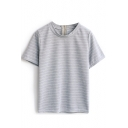 Gray Striped Zip Back Short Sleeve Tee