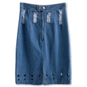 Blue Ripped Cutout Zip Fly Mid Denim Skirt