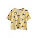 Yellow Bulldog Print Short Sleeve T-Shirt