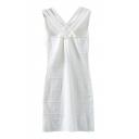White Back Cross Strap Knitting Tanks Dress