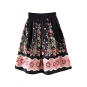 Black Vintage Flower Midi A-line Skirt