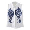 White Background Porcelain Print Sleeveless Chiffon Shirt