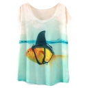 Swimming Goldfish Print White Short Sleeve T-Shirt