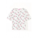 Pink Winged Heart Print White Crop T-Shirt